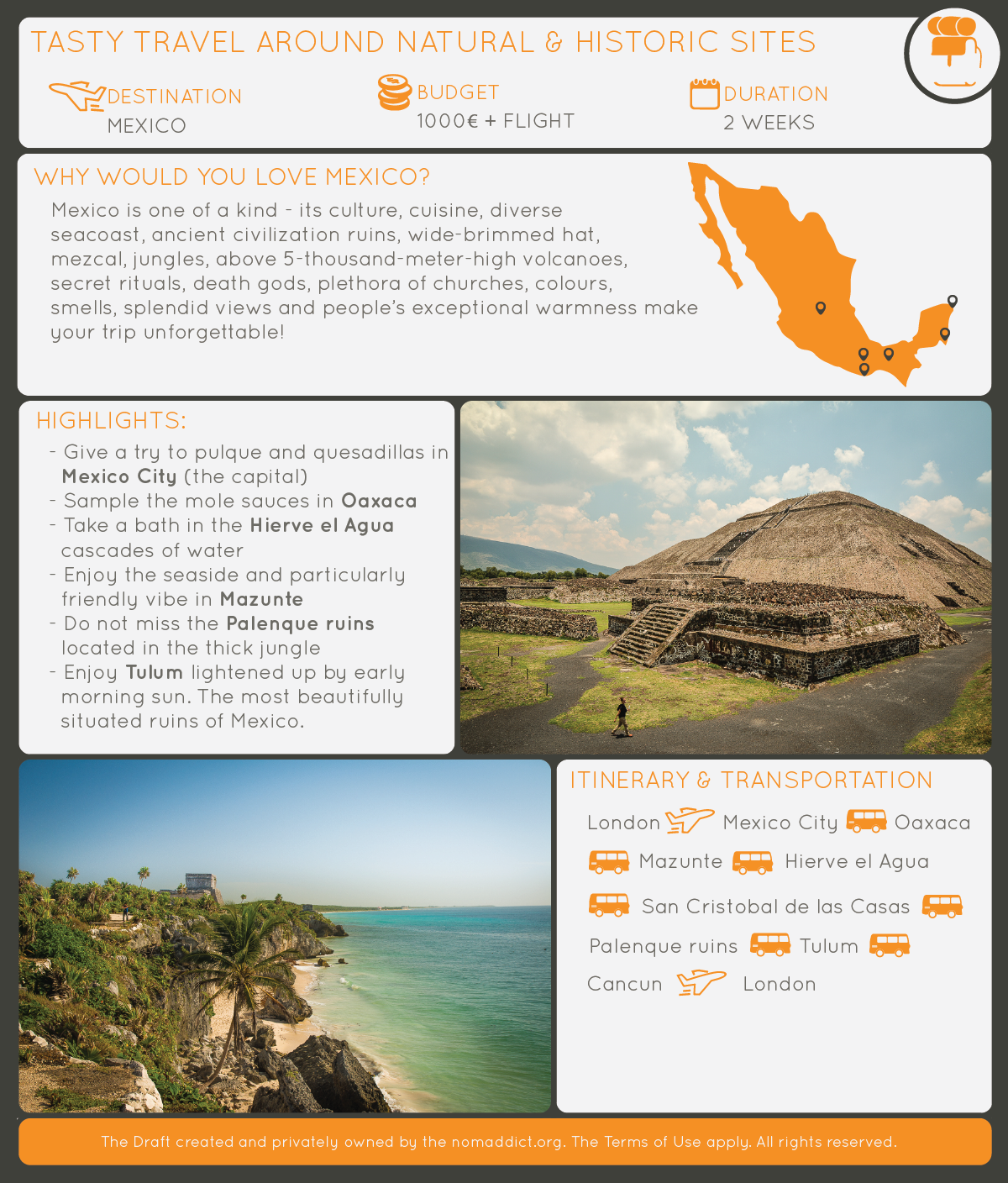 nomaddict travel planner travel itinerary draft to mexico